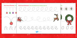 Christmas Pencil Control Activity Sheets