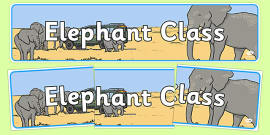 Elephant Themed Classroom Display Banner