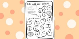 Australia - Fruit Roll and Colour Dice Addition Activity