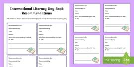 International Literacy Day Book Recommendation Activity Sheet