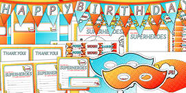 Superhero Themed Birthday Party Pack