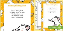 Hickory Dickory Dock Nursery Rhyme Poster
