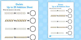 Owl Addition Sheet to 20