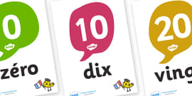 French Numbers 10-100 Posters