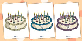 Numbers 0-10 on Birthday Cakes