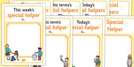 Classroom Monitor Display Signs (Special Helper)