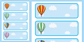 Editable Drawer - Peg - Name Labels (Striped Hot Air Balloons)