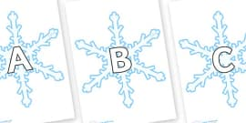 A-Z Alphabet on Snowflakes (New)