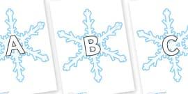 A-Z Alphabet on Snowflakes (New)