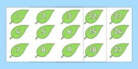 * NEW * Numbers 0-100 on Spring Leaves Display Posters