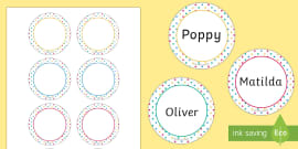 Spotty Themed Party Name Tags