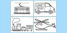 Modern Transport Colouring Sheets