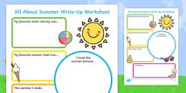 Summer Holiday Write Up Activity Sheet