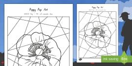 Anzac Poppy Pop Art Activity Sheet