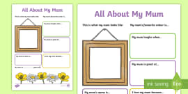 All About My Mum Activity Sheet