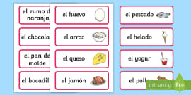 Spanish Food Vocabulary Cards