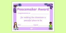 Peacemaker Award Certificate