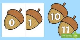 Numbers 0-30 on Acorns