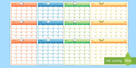 Academic Year Monthly Calendar Planning Template 2017-2018