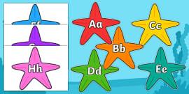 A-Z Alphabet on Starfish