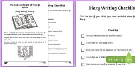 The Scariest Night of My Life by Bess The Highwayman Diary Writing Checklist Activity