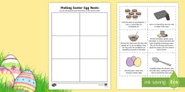 Making Easter Egg Nests Sequencing Activity Sheet