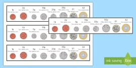 New British (UK) Coins Strips