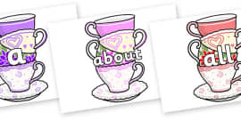 100 High Frequency Words on Teacups