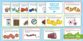 Addition and Subtraction to 100 Word Problem Challenge Cards