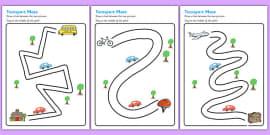 Transport Pencil Control Path Activity Sheets