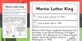 Martin Luther King Significant Individual Fact Sheet
