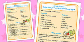 Fruit Sticks with Yoghurt Recipe Sheet to Support Teaching on Handa's Surprise