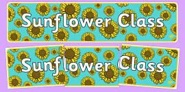 Sunflower Themed Classroom Display Banner