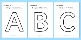 'My name begins with the letter...' Big Letter Colouring Sheets