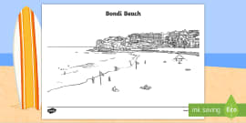 Bondi Beach Colouring Page