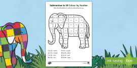 Subtraction From 20 Colour By Numbers Sheet to Support Teaching on Elmer