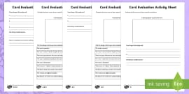 Mother's Day Card Evaluation Differentiated Activity Sheets