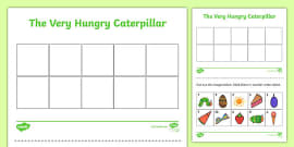 Themed Cut and Stick Number Ordering Sheets 1-10 to Support Teaching on The Very Hungry Caterpillar