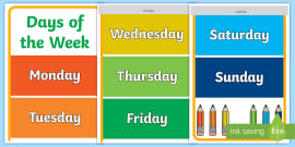 Resultado de imagen de days of the week