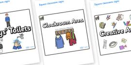Gorilla Themed Editable Square Classroom Area Signs (Plain)