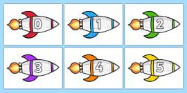 Calendar Numbers 0-31 on Rockets (Landscape)