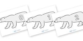 Numbers 0-31 on Polar Bears