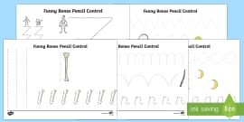 Pencil Control Activity Sheets to Support Teaching on Funny Bones