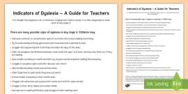 * NEW * Indicators of Dyslexia Adult Guidance