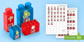 * NEW * Toy Box Phonics Matching Connecting Bricks Game