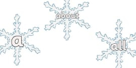 100 High Frequency Words on Snowflakes