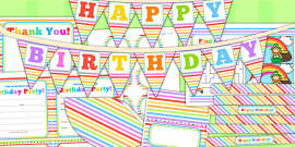 Rainbow Themed Birthday Party Pack