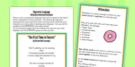 Figurative Language Activity and Reference Sheet Alliteration