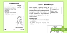Ernest Shackleton Significant Individual Fact Sheet