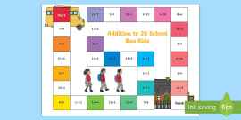 Addition within 20 Bus Board Game
